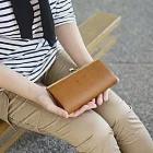 CLEDRAN|優雅氣質 日本皮革珠扣長夾 駝色