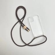 Arno 編繩背帶透明iPhone手機殼_黃金藍