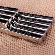 5雙304不銹鋼筷 中式方形金屬合金筷 防滑家用筷子套裝