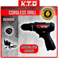 KTO 12V 2 SPEED CORDLESS DRILL BATTERY with 1 BATTERY and 3PIN CHARGER / DRILL TANPA WAYAR