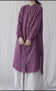 日系 棉麻 小立領 全開釦 長版洋裝(共4色) *現貨+預購*