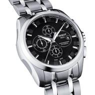 【TISSOT】Couturier 建構師系列計時機械錶-黑/43mm(T0356271105100)