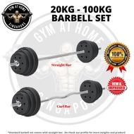 ஐ๑Barbell 20/30/40/50/60/70/80/90/100kg Dumbbell Gym Set