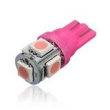 12V T10 194 168 W5W 5-SMD LED ไฟรถยนต์หลอดไฟ (สีม่วงและสีชมพู)