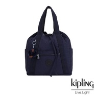 【KIPLING】復古歐風墨水藍兩用側背後背包-小-ART BACKPACK S