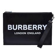 BURBERRY 經典品牌LOGO小牛皮拉鍊掛腕手拿包(黑色)