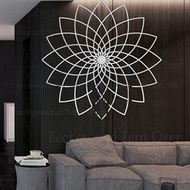 Mirror Wall Stickers Sticker Home Decor Room Decoration Living Room Wallpaper For Walls Lotus Linear