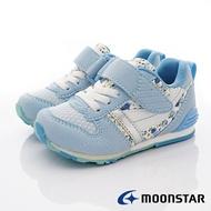 日本月星Moonstar機能童鞋HI系列寬楦頂級學步鞋款2121S69粉藍花(中小童段)