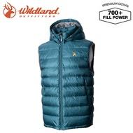 【Wildland 荒野 男 700FP拆帽極暖鵝絨背心《藍綠》】0A72172/輕量羽絨背心/保暖背心/防風禦寒立領開襟背心