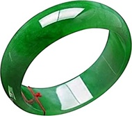 Classic Retro Oriental Style Natural Jade Bangle Emerald Green Burma Ice Round Bar Link Bracelet,Crystal Natural Stone For Men Women Holiday Gift. (Size : 56-57mm)
