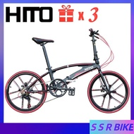 🔥In Stock🔥Hito X6 Folding Bicycle 22-inch Dual-tube Ultra-light Portable Road Foldable Bike, Aluminum Alloy Frame With Disc Brake, No installation required