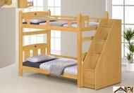 亞倫傢俱*葛瑞美北美檜木實木樓梯櫃收納雙層床