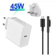 UGOODBUY 45W Wall Charger USB-C PD Power Adapter with Type C Surface Cable for Surface Go/ Pro3/ Pro4/ Pro5/ Pro6/ Book 1/ Book 2/ Laptop