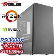 華碩 電玩系列【朱凰蝕炎】AMD R5 3600X六核 GTX1660 超頻電腦(16G/2TB)