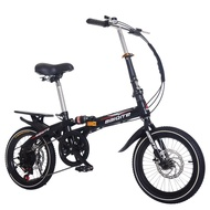 Ready Stock Children's Folding Mountain Bike 16 Inch 20 Inch One Wheel Variable Speed Disc Brake Men's and Women's Adult Shock Absorption Bike