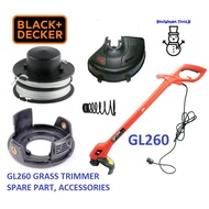 GL260 BLACK AND DECKER GRASS TRIMMER SPARE PART, ACCESSORIES,REFILL NYLON LINE,COVER SPOOL CAP, SPRING, GUARD GL300