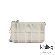 【KIPLING】溫柔奶油格紋三夾層配件包-CREATIVITY L