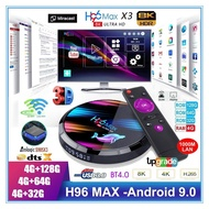 H96 MAX HD X3 8K TV Box - Android 9.0 Smart HD IPTV Boxes 4G RAM + MAX 128G ROM S905X3 CPU Chip Support 1000M LAN Ethernet 2.4G+5G WIFI, USB 3.0 & Smart Cast
