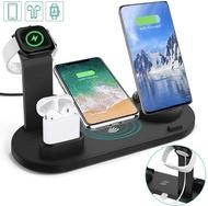 【美國代購】3合1充電器座 相容iPhone / Android / Type-C和Apple Watch 的Qi快速無線充電基座 黑色