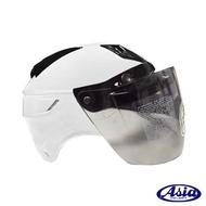 【ASIA】A-613 四合扣半罩式安全帽_含鏡片(白)
