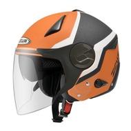 瑞獅 ZEUS ZS-612A/AD9消光橙灰白/半罩安全帽 彩繪/輕量/可拆透氣內襯/內制墨鏡/插銷扣環【 歐樂免運】