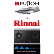 Fujioh SLM900 Slim Cooker Hood + Rinnai RB-2CG Built-in 2 Burner Inner Flame Hob