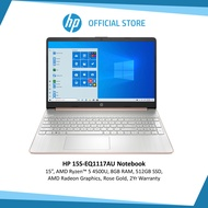 HP 15S-EQ1117AU Laptop (15 inch, AMD Ryzen 5 45000U, 8GB RAM, 512GB SSD, Rose Gold)  | Windows 10 | 2 Year Warranty