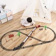 火車軌道復古蒸汽火車玩具高鐵小火車3歲男孩仿真電動軌道古典模型
