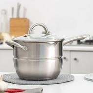 蒸鍋 304不銹鋼多功能鍋電磁爐湯鍋蒸鍋油炸鍋煮面鍋20cm  領券下定更優惠