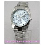 【 幸福媽咪 】OMAX 歐瑪士 日本星辰機芯 三眼裝飾 不鏽鋼 時尚 男錶_35mm 藍色 型號:4037