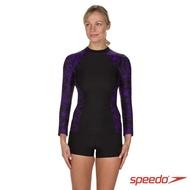 【SPEEDO】女 長袖防曬衣 Boom(黑/紫)