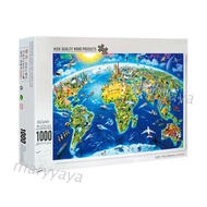 【Ready Stock】 Mary 1000 Pcs/Pack World Landmarks Map Puzzle Wood Jigsaw Assemble Puzzles for Adult