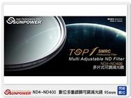【領券現折,指定銀行卡10%回饋】SUNPOWER TOP1 SMRC ND4~ND400 95mm 數位多重 可調減光鏡 (95,湧蓮公司貨)