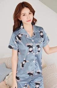 QQS Print Pajamas Two Piece Set for Women Short Sleepwear Cute Pajamas 2021