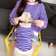 【現貨】藍貓小型犬刺繡衣服 大人寵物條紋親子裝粉色頑皮豹貓咪狗狗衛衣