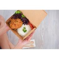 100 Pcs   Large Kraft Disposable Paper Lunch Box