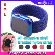 Braided Solo Loop+Case For Apple Watch band 38mm 42mm 40mm 44mm Nylon fabric Bracelet for apple watch Series SE 6 5 4 3 2 Protector Cover