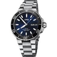 【ORIS 豪利時】水鬼 Aquis 大視窗日曆500米潛水機械錶-藍x銀/45.5mm(0175277334135-0782405PEB)