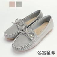 【FUFA Shoes 富發牌】蝴蝶結質感莫卡辛鞋-灰  R25