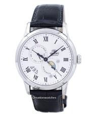 Orient Sun Moon Automatic Men's Black Leather Strap Watch SAK00002S