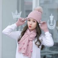 保暖必入【帽子圍巾手套】2019冬季新款毛線帽子三件套戶外保暖防風套頭帽
