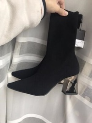 ZARA women s shoes, elastic fabric, high heels and ankle boots, short boots, rough heels and knitted