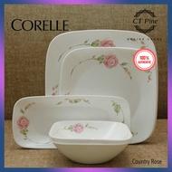 Corelle Square 6pc Set [Country Rose] /// Elegant Classy Colourful Plate Pinggan Bowl Mangkuk