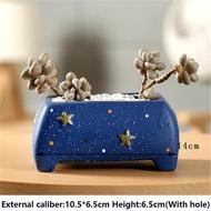 ดาวใหม่เซรามิกสีฟ้ากระถางดอกไม้สำหรับปลูกไม้อวบน้ำตกแต่งบ้านสร้างสรรค์ Handmade หัตถกรรมกระถางดอกไม้สำหรับปลูกไม้อวบน้ำแจกันเครื่องประดับ