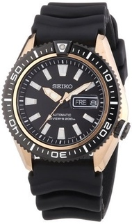 Seiko Watches Seiko Diver Black Dial Black Rubber Mens Watch SRP500