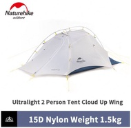 เต็นท์ Naturehike ผ้า 15D Cloud Up Wing Camping Tent 2 Person น้ำหนัก 1.5KG Ultralight 15D Silicone Nylon Outdoor Tent With Free Mat NH19ZP083