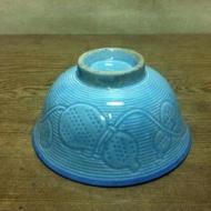 WH10131【四十八號老倉庫】全新 早期 台灣 藍釉 凸紋 碗粿碗 【有瑕】【懷舊收藏擺飾道具】