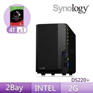 【希捷 4TB】1入組 NAS硬碟(ST4000VN008)+【Synology】DS220+ 網路儲存伺服器