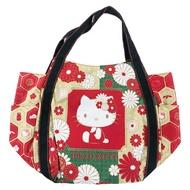 小禮堂 Hello Kitty 帆布托特包側背袋 帆布手提袋 購物袋 肩背袋 (紅金 側坐)
