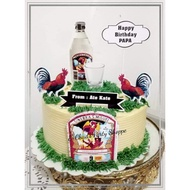 GIN and ROOSTER Theme Cake Topper Set